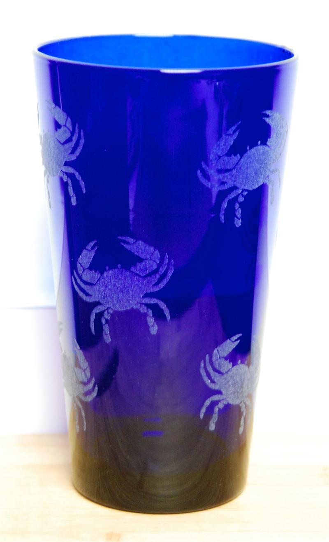 Cobalt Blue Crabby Pint Glass