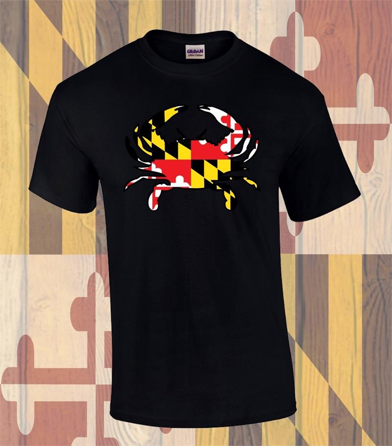 Md Flag Crab Front Design T Shirt