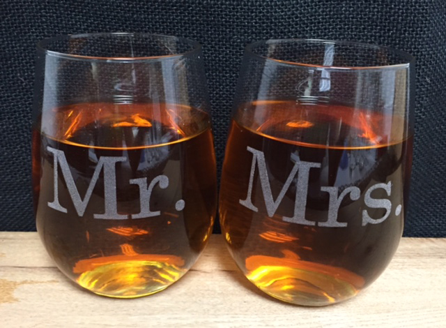 Mr And Mrs Stemless Wine Glass