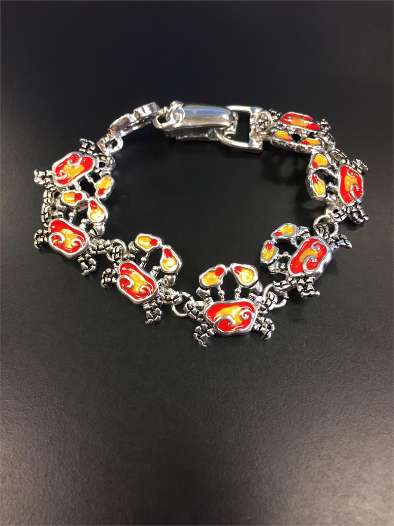 Enamel Linked Crab Magnetic Clasp Bracelet