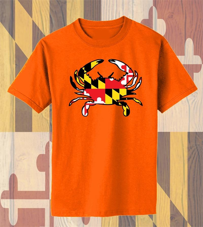 Md Flag Crab Front Design T Shirt